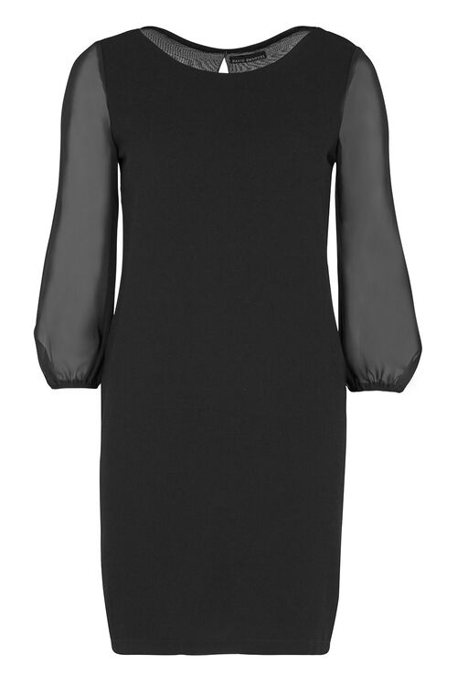 David Emanuel Chiffon Sleeve Textured Shift Dress