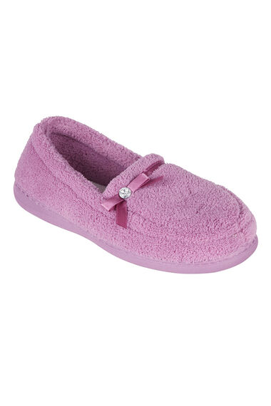 Satin Trim Moccasin Slippers