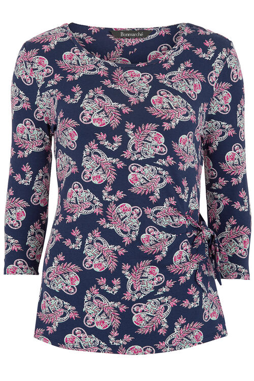Side Tie Top Paisley Print