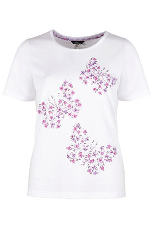 Summer Floral Butterfly Print Pyjama Top