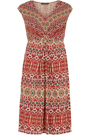 Persian Print V-Neck Dress