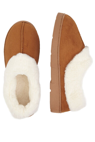 Fur Trim Suedette Full Slipper