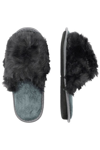 Fur Trim Open Toe Mule