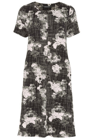 Monochrome Floral Print Swing Dress