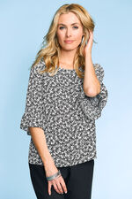 Leaf Print Fluted Sleeve Top