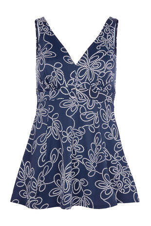Rope Print Buckle Trim Swim Dress