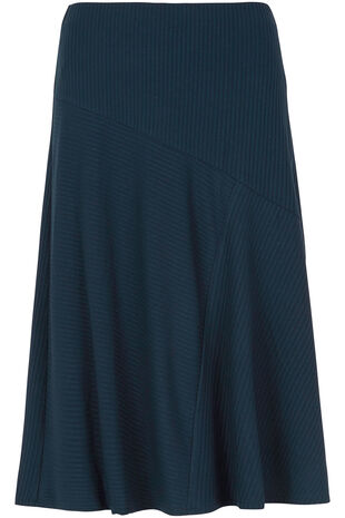 Navy Ribbed Panelled Skirt
