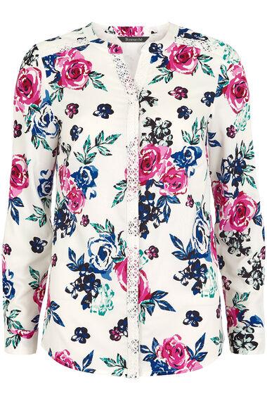 Floral Print Lace Trim Blouse