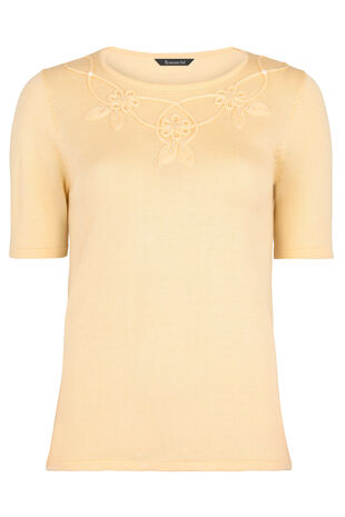 Applique And Cornelli Short Sleeve Jumper