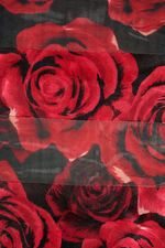 Rose print Satin Stripe Scarf