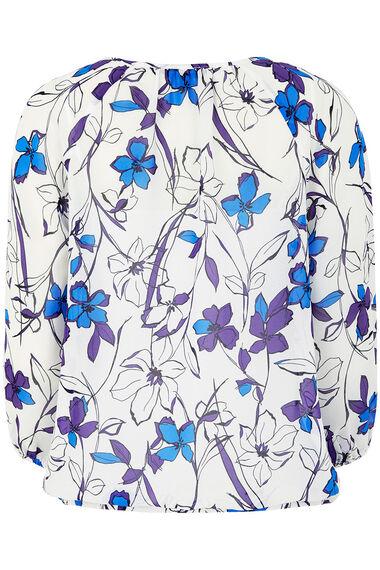 Floral Print Bubble Hem Blouse