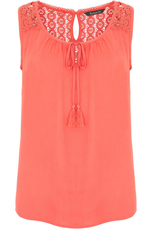 Lace Back Crinkle Vest Top