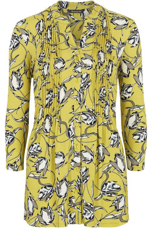 Tulip Printed Pintuck Detail Jersey Top