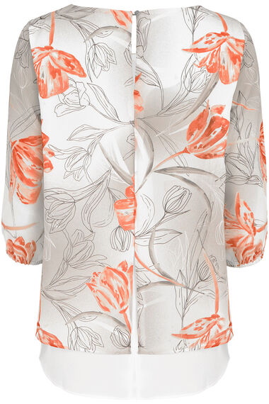 Tulip Print Double Layer Blouse