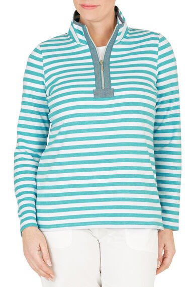 Stripe Chambray Trim Funnel Neck Sweat Top