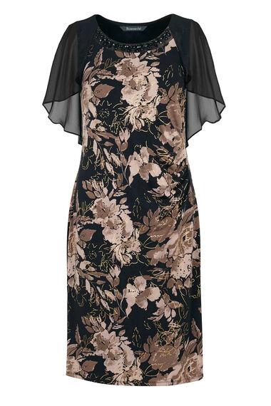 David Emanuel Foil Print Jersey Dress With Chiffon Cape