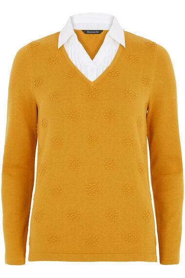 Mock Shirt Textured Jumper