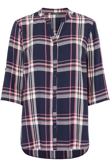 Longline Button Through Check Shirt
