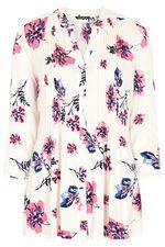 Floral Stem Printed Pintuck Detail Jersey Top