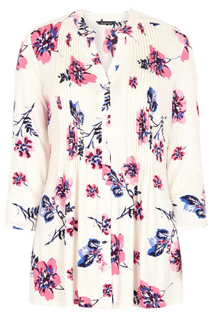 Floral Stem Printed Pintuck Detail Jersey Top