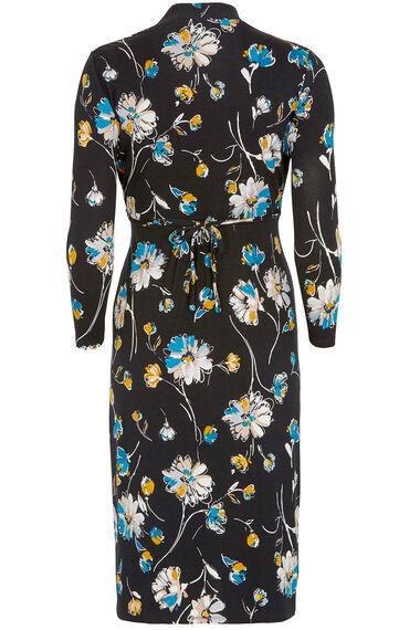 Floral Print 3/4 Sleeve Tea Dress