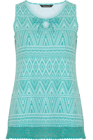 Aztec Print Lace Hem Vest
