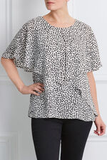 David Emanuel Short Sleeve Spot Print Cape Blouse