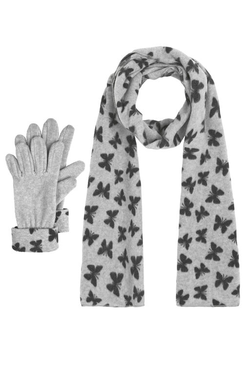 Butterfly Fleece Scarf And Gloves Set