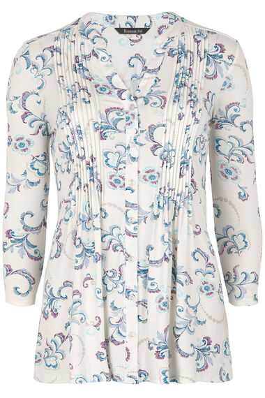 Printed Pintuck Jersey Blouse