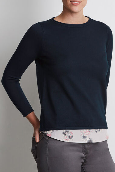Envelope Back Sweater with Printed Insert