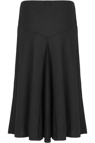 Black Ribbed Panelled Skirt