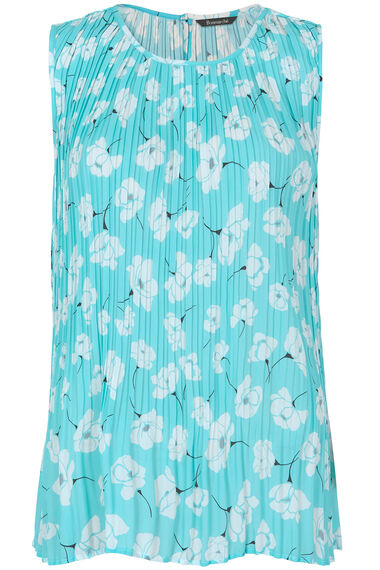 Floral Printed Pleated Sleeveless Top