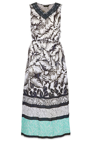 Palm Border Crochet Spun Maxi Dress
