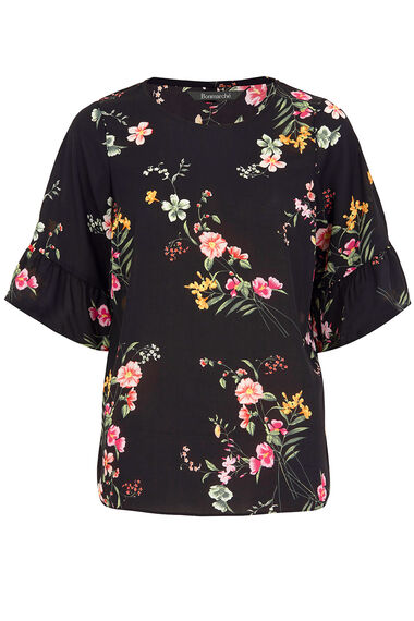 Floral Print Fluted Sleeve Top