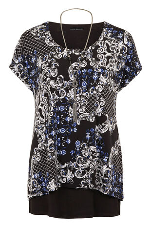Scroll Printed Double Layer Tunic & Necklace