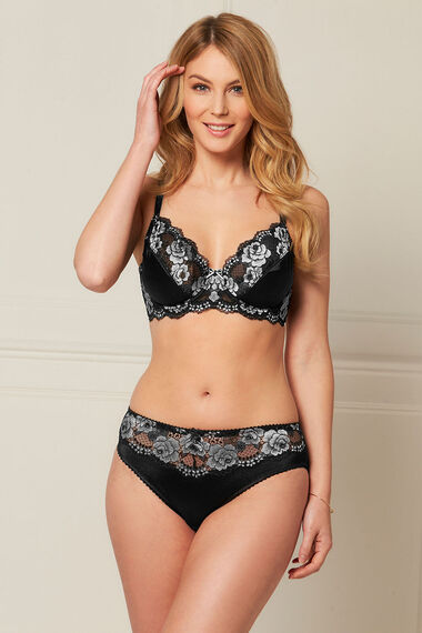 Black and Silver Lace Underwired Bra