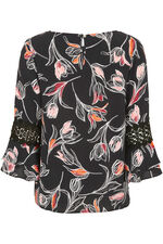 Large Tulip Print Fluted Sleeve Blouse With Lace Trim