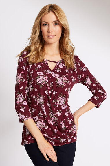 Wrap Front Jersey Top Floral Print