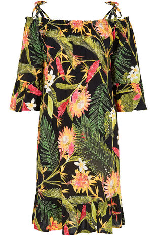 Tropical Print Cold Shoulder Dress