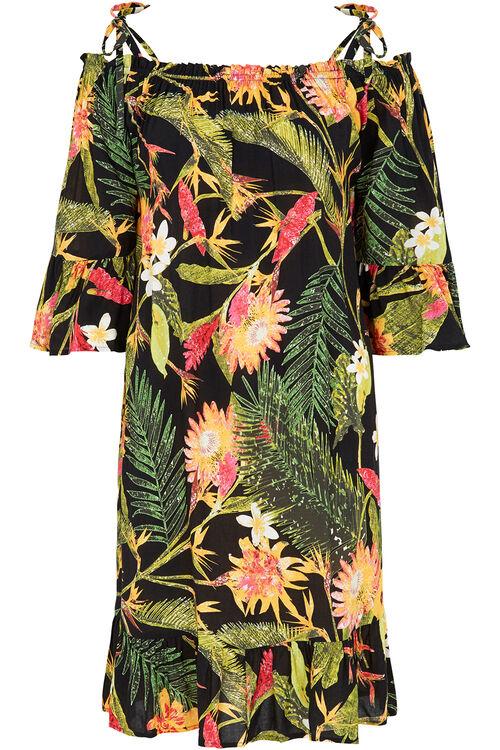 Tropical Print Cold Shoulder Dress
