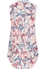 Butterfly Print Sleeveless Shirt