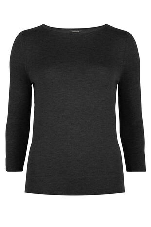 3/4 Sleeve Round Neck Jumper With Silk