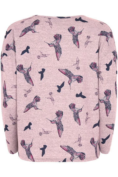 Soft Touch Bird Print Crew Neck Sweater