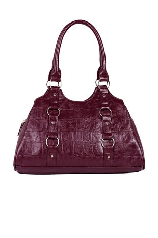 Mock Croc Textured Shoulder Bag