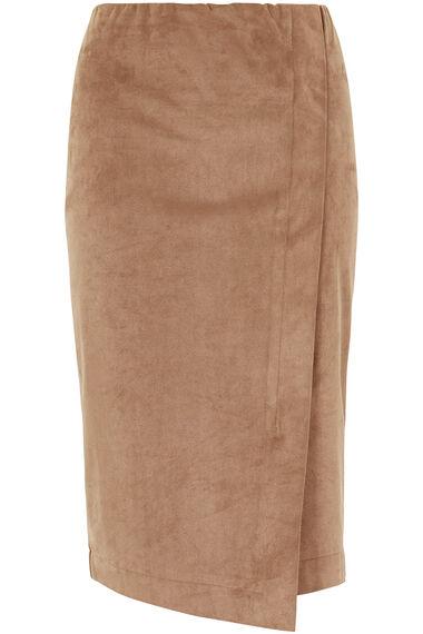 Asymmetric Faux Suede Wrap Skirt