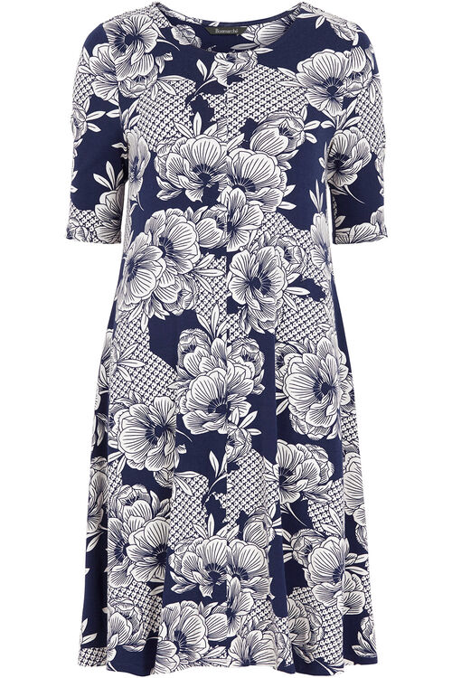 Floral Tile Print Swing Dress