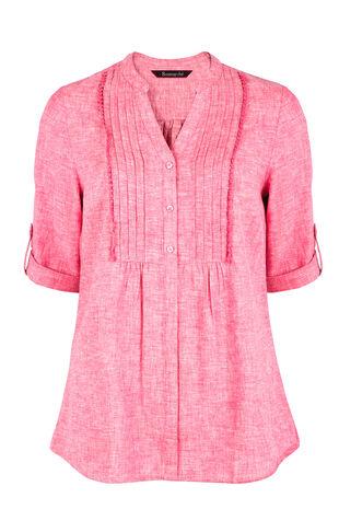 3/4 Sleeve Linen Mix Blouse
