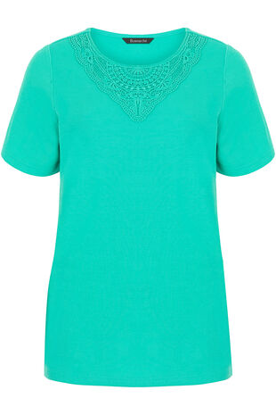 Lace Neckline Rib Back T-Shirt