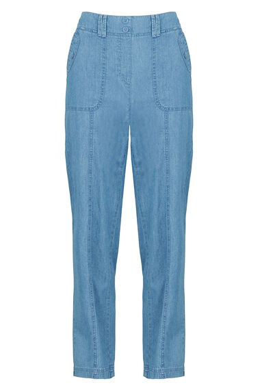 Chambray Cotton Cargo Trousers