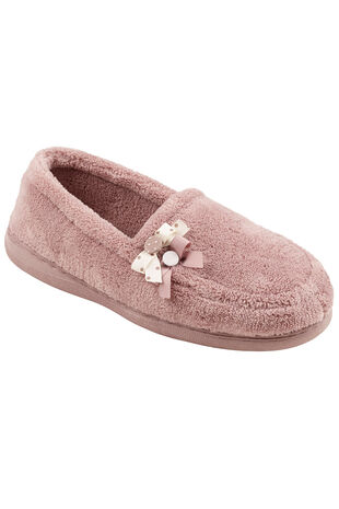Double Button Bow Detailed Towelling Moccasin Slippers